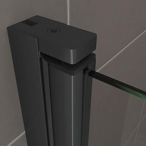 Duschbär - Duschtür STELLA, Nischentür aus 6 mm durchsichtigem Sicherheitsglas und schwarzen Aluminiumprofilen - BC