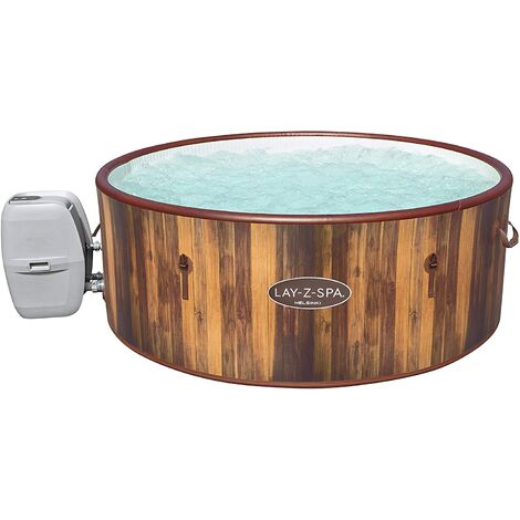 Lay-Z-Spa Helsinki Hot Tub, Wood Effect Inflatable Spa with Freeze Shield