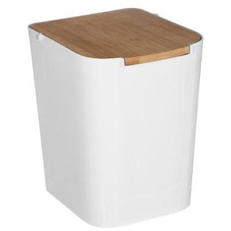 Poubelle blanche avec couvercle en bambou 5 L - L 18.3 x H 24.4 x P 22.4 cm