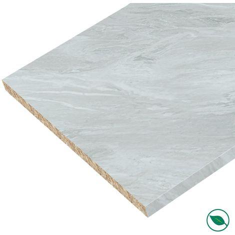 Plan de travail stratifié ambiance marbre gris 2000 x 650 EP38 mm PEFC 75%
