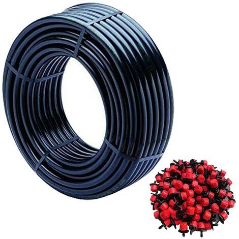 tube de goutte à goutte, 16 mm x 100 m, couleur noire + 100 Goteros réglable de 0 à 40 l / h