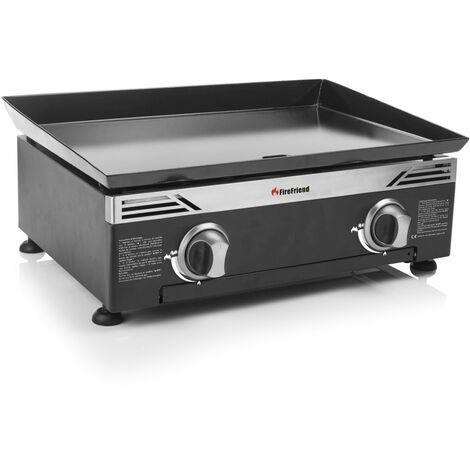 Plancha à gaz FireFriend BQ-6342F – 2 brûleurs – Plaque de cuisson en acier émaillé