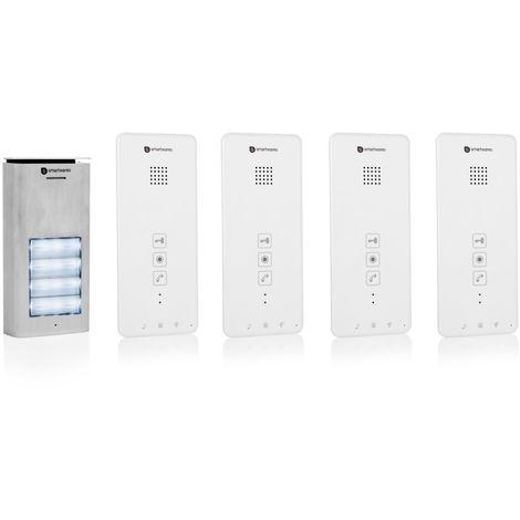 Interphone Smartwares DIC-21142 – Audio 2 voies – Installation bifilaire facile – 52 mélodies – Bouton de sonnette lumineux – Unité extérieure étanche – Kit pour 4 appartements