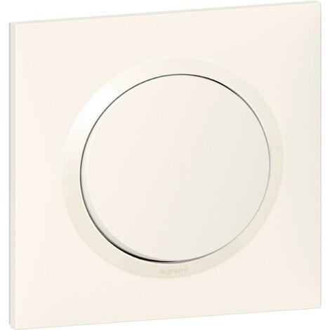 Interrupteur ou va-et-vient dooxie one 10AX 250V~ livré avec plaque carrée blanche et griffes (600701)