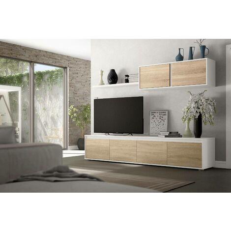 Dmora Meuble TV pour le salon, couleur chêne canadien et blanche artik, 43 x 200 x 41 cm