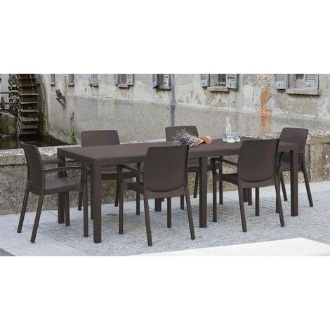 Dmora Table d'extérieur rectangulaire extensible, Made in Italy, 150 x 72 x 90 cm (extensible jusqu'à 220 cm), Couleur Marron