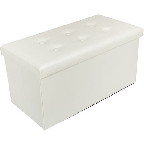 Folding Storage Ottoman Pouffe Seat Foot Stool Storage Box - Different colours