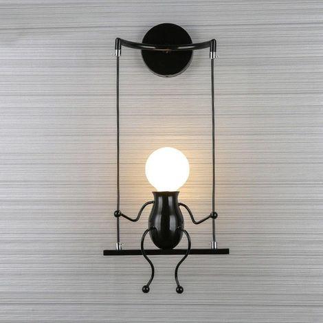 Moderne Lampe Murale Applique Créatif Simplicité Design Petite Personne Créatif E27 Luminaire Noir pour Chambre d'enfant Couloir Décoratives Eclairage Cuisine Loft Bar