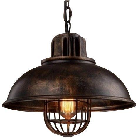 Suspension Lustre Abat-jour en Métal Loft Style Lampe Chandelier Industriel Vintage Pendentif Lumière E27, Rouille