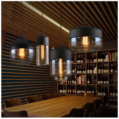 Lot De 4 Suspension Design Cylindre Style Retro Vintage Contemporain , Lustre Abat-jour en Verre Corde ajustable Luminaire Salle à manger Chambre à Coucher Salon Bar,Café