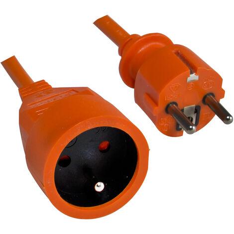 Prolongateur rallonge électrique de jardin - câble orange de 25m H05VV-F 3G1.50 mm²