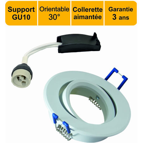 LOT DE 10 SUPPORTS SPOT ENCASTRABLE AIMANTE ORIENTABLE BLANC + DOUILLE GU10 INCLUS