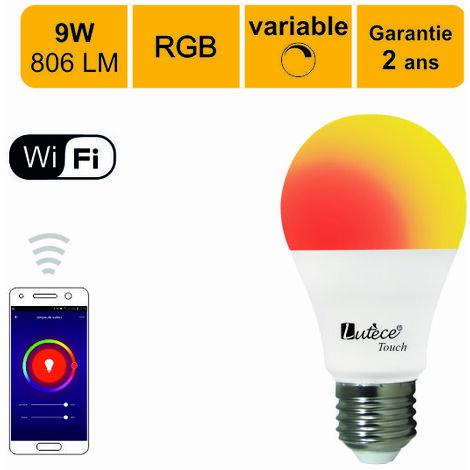 Ampoule LED connectée A60 E27 9W (equiv. 60W) 806Lm RGB Dimmable - compatible avec Alexa ou Google Home