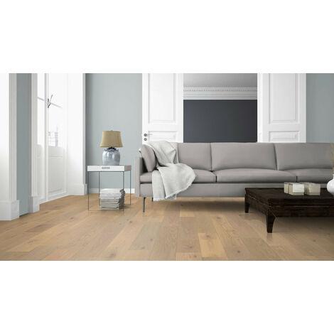 Saint Clair - Parquet chêne Contrecollé chêne brossé verni aspect bois brut rustique 14/3x180x400 à 1085mm (colis = 1,177m2)