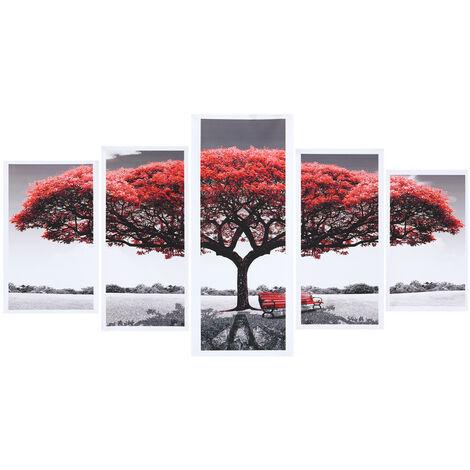 5 Unids / set Decoración Moderna de la Pintura de la Lona Árbol Rojo Arte Lienzo Pintura Al Óleo Imagen Sin Marco