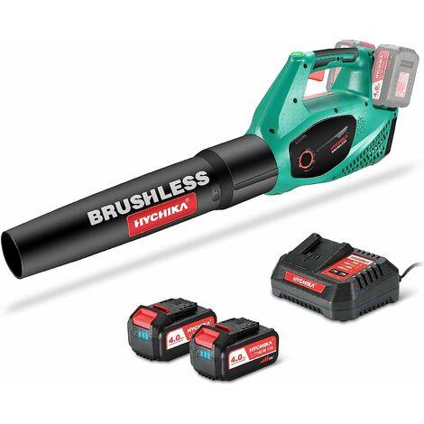 Soffiatore a Batteria Brushless 36V, HYCHIKA 212 Km/h, 22500 RPM con 2 Velocità Regolabili, 2x4.0Ah Batteria, Caricatore Rapido, Soffiatore Foglie Elettrico, per pulire foglie, neve e piccoli detriti