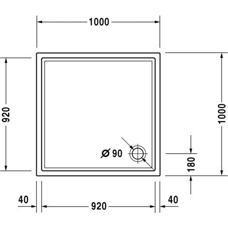 Duravit Starck Slimline square shower tray, 100x100 cm, white - 720116000000000
