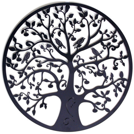 60X60Cm Tree Of Life Metal Wall Art Round Sculpture Hanging Home Garden Decor