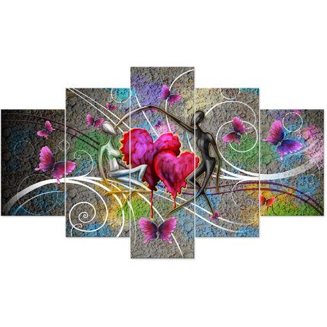 5PCS Table Canvas Heart Dancer Art Home Wall Decor