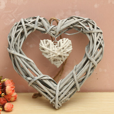 Wicker Love Heart Shape Heart Wall Hanging Shabby Chic Wreath Hanging Wedding Birthday Party Decor