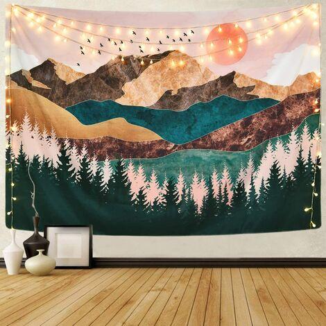 décorative d'intérieur Tapisserie de montagne forêt arbre tapisserie coucher de soleil tapisserie Nature paysage tapisserie tenture murale pour chambre - Des tailles différentes