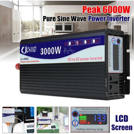 3000W Inverter a onda sinusoidale pura Modificata sinusoidale Inverter DC24V a AC220V Convertitore + Display LCD