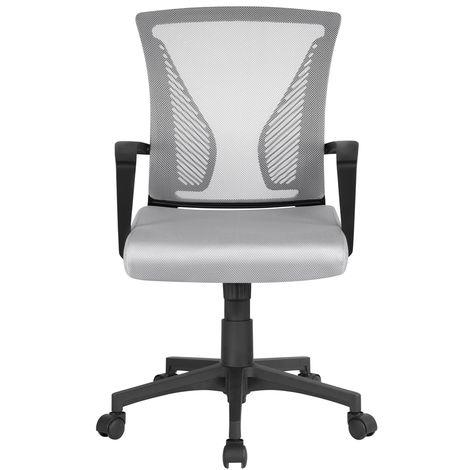 Yaheetech Chaise de Bureau à Roulettes Pivotante Fauteuil pour Ordinateur en Maille Mesh Hauteur Réglable Incliable Ergonomique