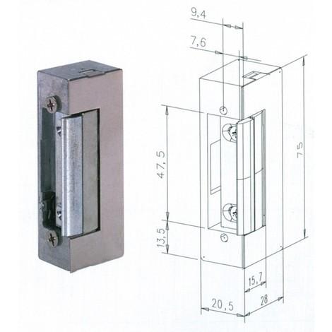 Gâche électrique 10/24V à émission EFF EFF à larder - Décondamnation manuelle sans têtière - SPE71E