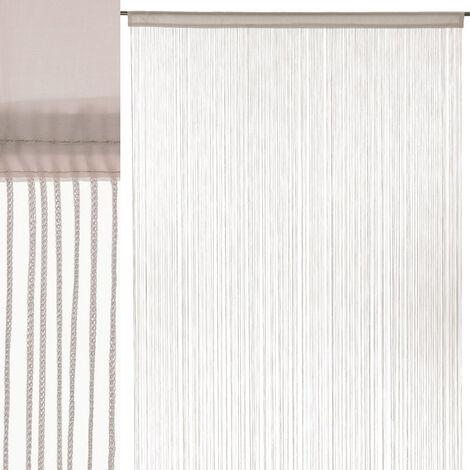 Cortina de hilos beige clásica de poliéster de 250x140 cm