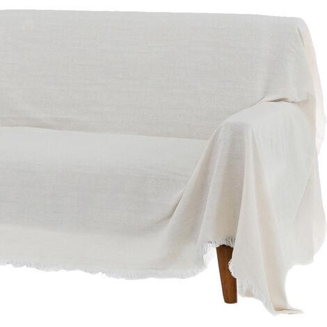 Cubre sofá blanco de algodón y poliéster de 290x180 cm