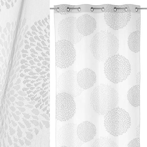 Visillo confeccionado blanco moderno de poliéster de 240x137 cm