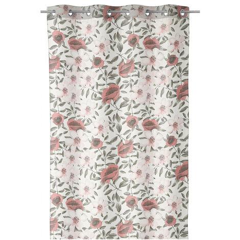 Visillo confeccionado rosa shabby chic de poliéster de 260x140 cm