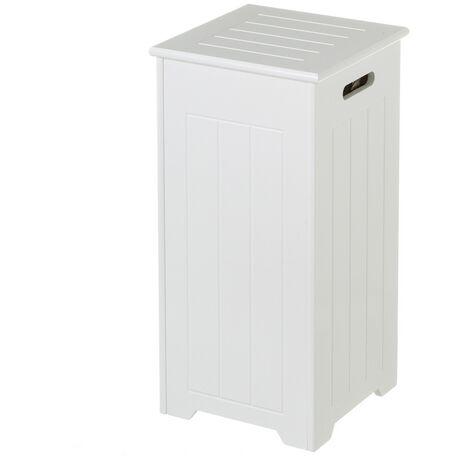Cesto de ropa arcón de madera blanco contemporáneo de 60x29x29 cm