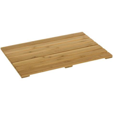 Tarima de ducha antideslizante marrón bambú de 35x53 cm