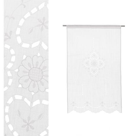 Cortina de baño bordada blanca de tela de 110x70 cm