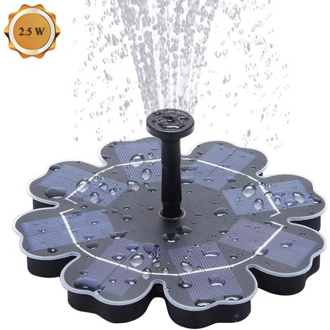Solar Fountain Pump 2.5W Solar birdbath Fountain Submersible Pond Pump Outdoor Water Feature for Bird Bath,Garden Fountain,Small Pond and Water Circulation, 4 Nozzles Included