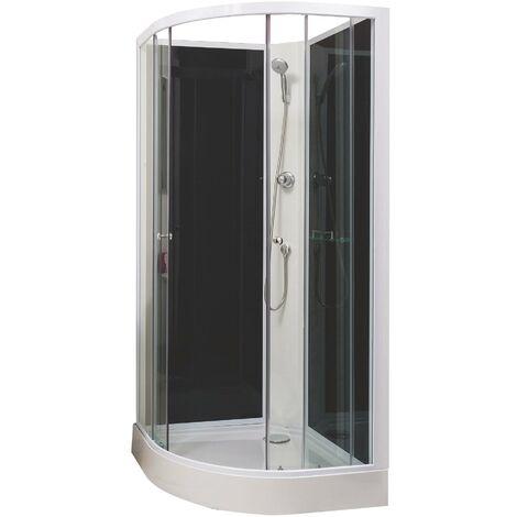 Cabine GENA - Sans silicone - 1/4C 80cm - Profilés aluminium - Blanc - En kit