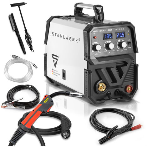 STAHLWERK MIG 135 ST IGBT - MIG MAG inert gas inverter welder with 135 Ampere, suitable for Flux Cored Wire, with MMA ARC Stick, white, 7 years warranty