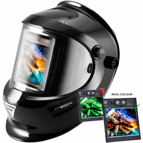 STAHLWERK ST-800PV fully automatic welding helmet, optical class 1/1/1/1, large field of view + incl. 2 replacement disks, black, 7-year GUARANTEE on FILTER