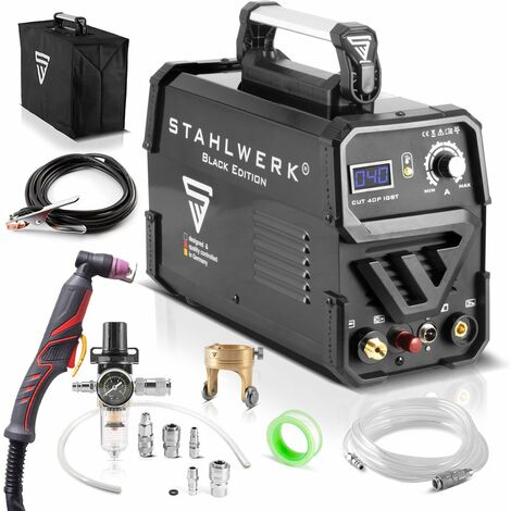 STAHLWERK CUT 40 Pilot IGBT Plasma Cutter with pilot ignition and 40 Ampere, up to 10 mm cutting power, suitable for painted sheets & flash rust, 7-year warranty