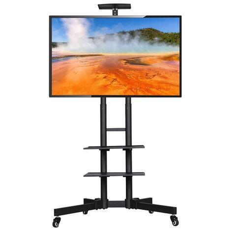 Yaheetech Supporto Carrello TV da 32 a 65 Pollici da Pavimento con Ruote Mobile Porta TV Schermo Industriale VESA da 100 x 100 mm a 600 x 400 mm 3 Ripiani Altezza Regolabile Gestione di Cavi Nero