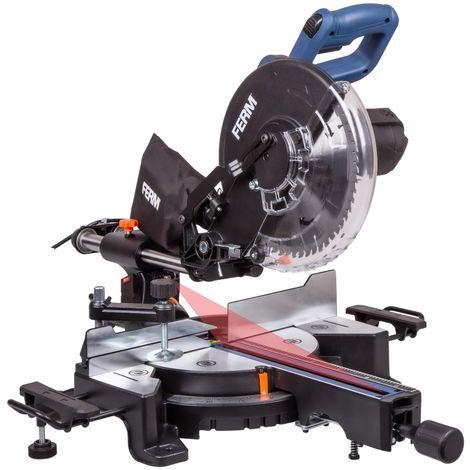 FERM Troncatrice radiale 1900W, diametro Ø254 mm con Guida Laser. Include lama 60T TCT, estensioni da tavolo, morsetto e sacchetto di raccolta polvere