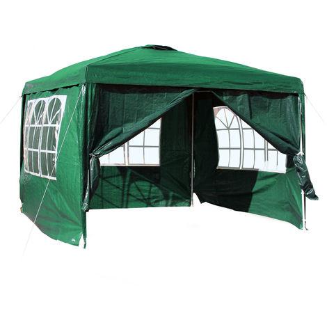 Gazebo 3x3m teli laterali in verde rimovibili, pieghevoli con finestra
