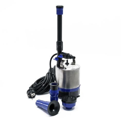 Pompa per laghetto in acciaio inox 50W portata di 1750l/h incl. 3 accessori per zampilli diversi