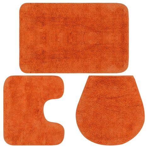 Hommoo Bathroom Mat Set 3 Pieces Fabric Orange
