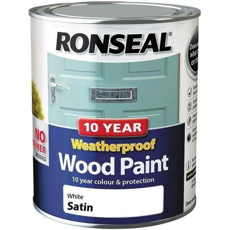 Ronseal 10 Year Weatherproof Paint Satin White 750ml