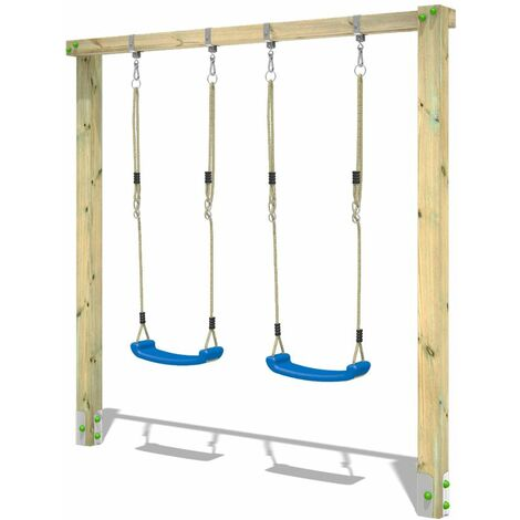 WICKEY Wooden swing set Aero Star with Climbing extension Children\'s swing