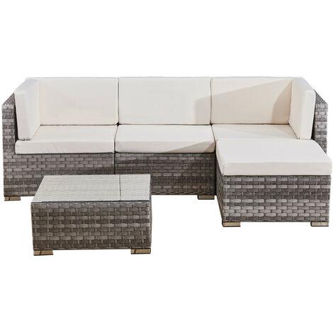 4 seats outdoor sofa rattan garden furniture set - Grey - CANNES