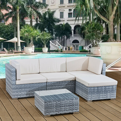 4 seats outdoor sofa rattan garden furniture set - Light grey - CANNES