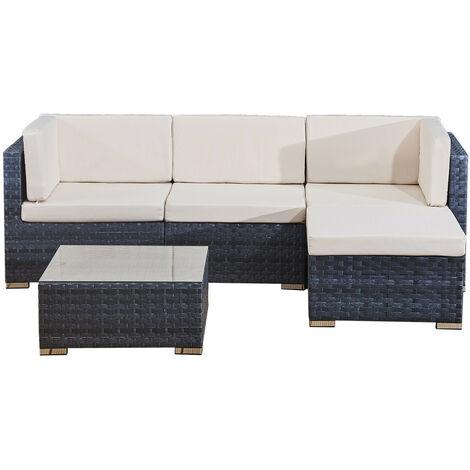 4 seats outdoor sofa rattan garden furniture set - Ocean grey - CANNES
